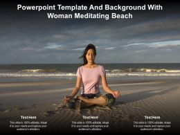 Powerpoint Template And Background With Woman Meditating Beach