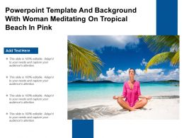 Powerpoint Template And Background With Woman Meditating On Tropical Beach In Pink