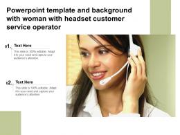 Powerpoint Template And Background With Woman With Headset Customer Service Operator