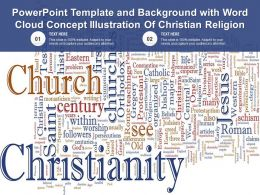 Powerpoint Template And Background With Word Cloud Concept Illustration Of Christian Religion
