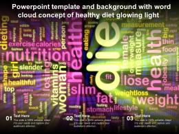 Powerpoint Template And Background With Word Cloud Concept Of Healthy Diet Glowing Light