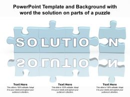 Powerpoint Template And Background With Word The Solution On Parts Of A Puzzle
