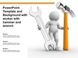 Powerpoint Template And Background With Worker With Hammer And Wrench