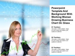Powerpoint Template And Background With Working Woman Drawing Business Chart On Glass