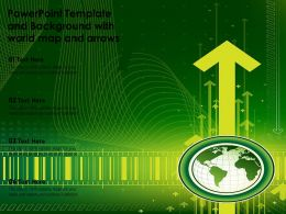 Powerpoint Template And Background With World Map And Arrows