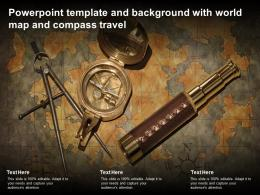 Powerpoint Template And Background With World Map And Compass Travel