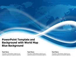 Powerpoint Template And Background With World Map Blue Background