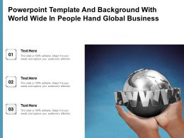Powerpoint Template And Background With World Wide In People Hand Global Business