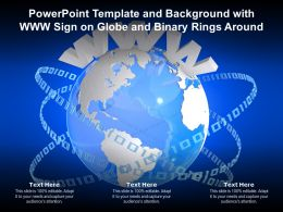 Powerpoint Template And Background With Www Sign On Globe And Binary Rings Around