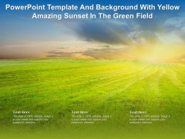 Powerpoint Template And Background With Yellow Amazing Sunset In The Green Field
