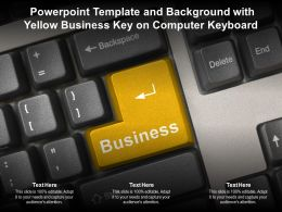 Powerpoint Template And Background With Yellow Business Key On Computer Keyboard