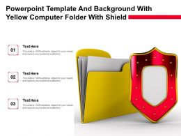 Powerpoint Template And Background With Yellow Computer Folder With Shield