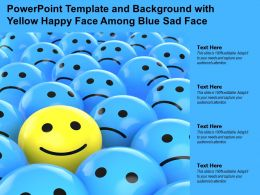 Powerpoint Template And Background With Yellow Happy Face Among Blue Sad Face