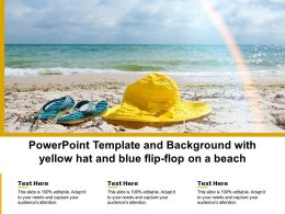 Powerpoint Template And Background With Yellow Hat And Blue Flip Flop On A Beach