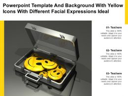 Powerpoint Template And Background With Yellow Icons With Different Facial Expressions Ideal