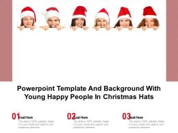 Powerpoint Template And Background With Young Happy People In Christmas Hats