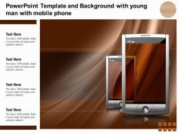 Powerpoint Template And Background With Young Man With Mobile Phone