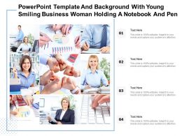 Powerpoint Template And Background With Young Smiling Business Woman Holding A Notebook And Pen