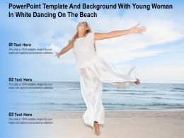 Powerpoint Template And Background With Young Woman In White Dancing On The Beach
