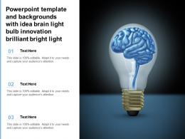 Powerpoint Template And Backgrounds With Idea Brain Light Bulb Innovation Brilliant Bright Light
