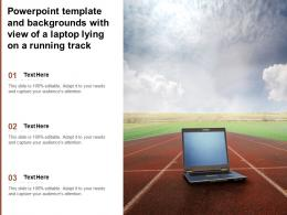 Powerpoint Template And Backgrounds With View Of A Laptop Lying On A Running Track