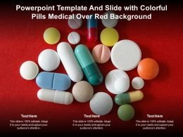 Powerpoint Template And Slide With Colorful Pills Medical Over Red Background
