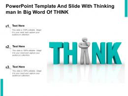 Powerpoint Template And Slide With Thinking Man In Big Word Of Think