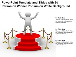 Powerpoint Template And Slides With 3d Person On Winner Podium On White Background