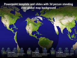 Powerpoint Template And Slides With 3d Person Standing Over Global Map Background
