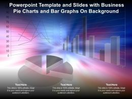Powerpoint Template And Slides With Business Pie Charts And Bar Graphs On Background