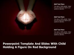Powerpoint Template And Slides With Child Holding A Figure On Red Background