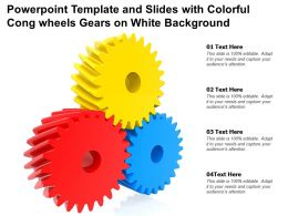 Powerpoint Template And Slides With Colorful Cong Wheels Gears On White Background