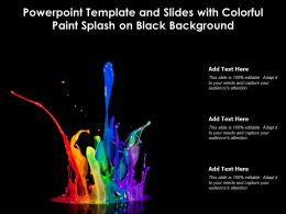 Powerpoint Template And Slides With Colorful Paint Splash On Black Background