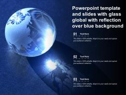 Powerpoint Template And Slides With Glass Global With Reflection Over Blue Background