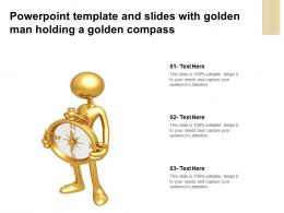 Powerpoint Template And Slides With Golden Man Holding A Golden Compass