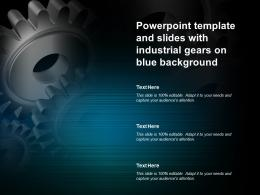 Powerpoint Template And Slides With Industrial Gears On Blue Background