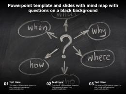 Powerpoint Template And Slides With Mind Map With Questions On A Black Background