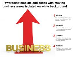 Powerpoint Template And Slides With Moving Business Arrow Isolated On White Background