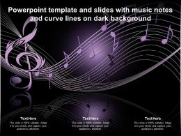 Powerpoint Template And Slides With Music Notes And Curve Lines On Dark Background