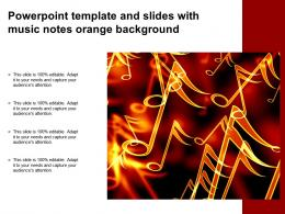 Powerpoint Template And Slides With Music Notes Orange Background