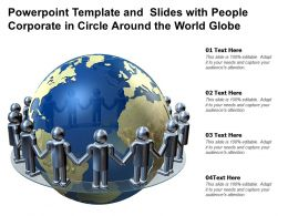 Powerpoint Template And Slides With People Corporate In Circle Around The World Globe