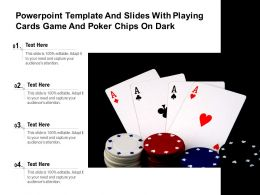 Powerpoint Template And Slides With Playing Cards Game And Poker Chips On Dark