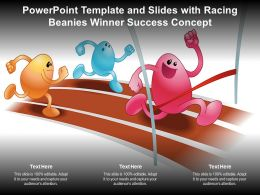 Powerpoint Template And Slides With Racing Beanies Winner Success Concept
