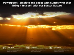 Powerpoint Template And Slides With Sunset With Ship Bring It To A Boil With Our Sunset Nature