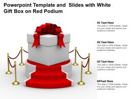 Powerpoint Template And Slides With White Gift Box On Red Podium