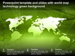 Powerpoint Template And Slides With World Map Technology Green Background