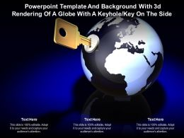 Powerpoint Template And With 3d Rendering Of A Globe With A Keyhole Key On The Side