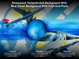 Powerpoint Template And With Blue Travel Background With Train And Plane