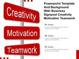 Powerpoint Template And With Business Signpost Creativity Motivation Teamwork