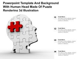 Powerpoint Template And With Human Head Made Of Puzzle Rendering 3d Illustration